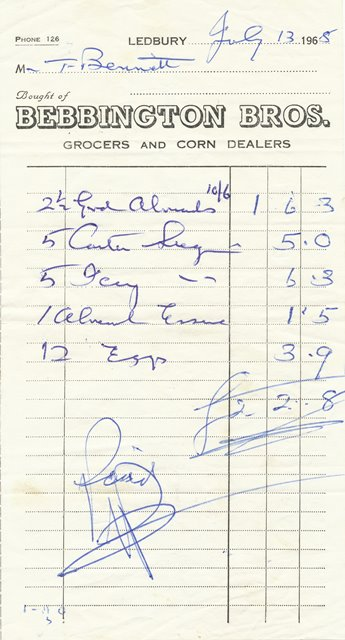 [Bebbington Receipt 1968]