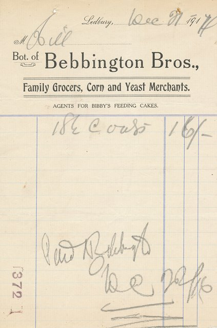 [Bebbington Bros Receipt 1914]